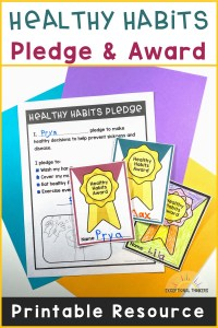 Colored Paper with free healthy habits pledge and award with text:Healthy Habits Pledge