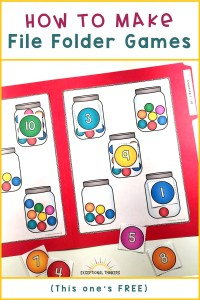 Counting activity with gumballs in jars in a red file folder game with text how to make file folder games