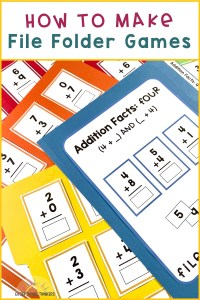 Colorful file folder games with math fact activities with the text how to make file folder games