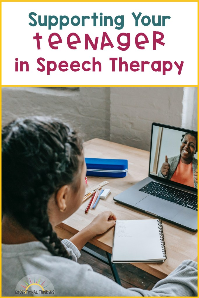 """Teal and purple text at top reads"""" Supporting Your Teen in Speech Therapy."""" Brunette teen with long hair in braids is facing away and towards a laptop screen with a teacher giving the thumbs up. This images shows what virtual sessions look like for teens in speech therapy."""