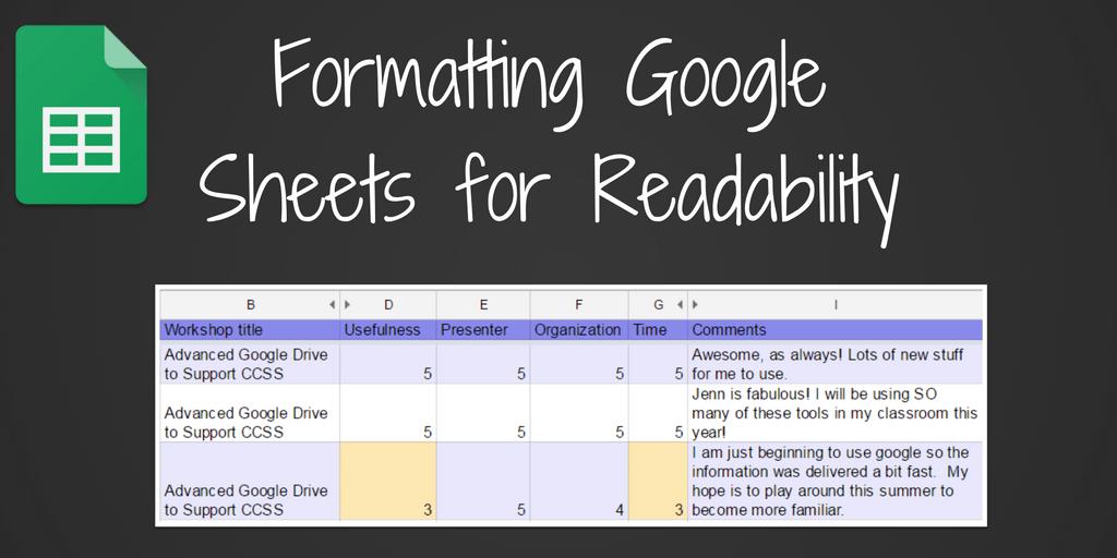 Formatting Google Sheets for Readability   Teaching Forward