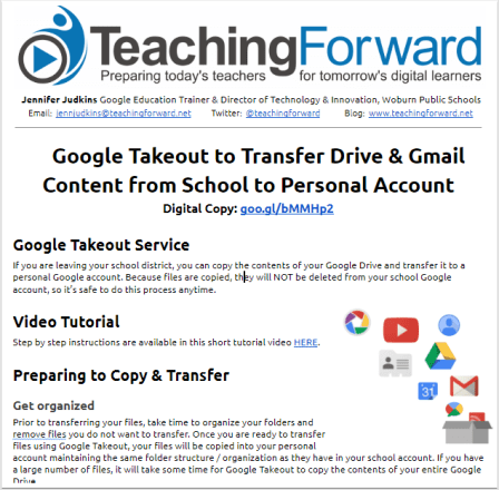 Google Takeout to Transfer Drive & Gmail | Teaching Forward