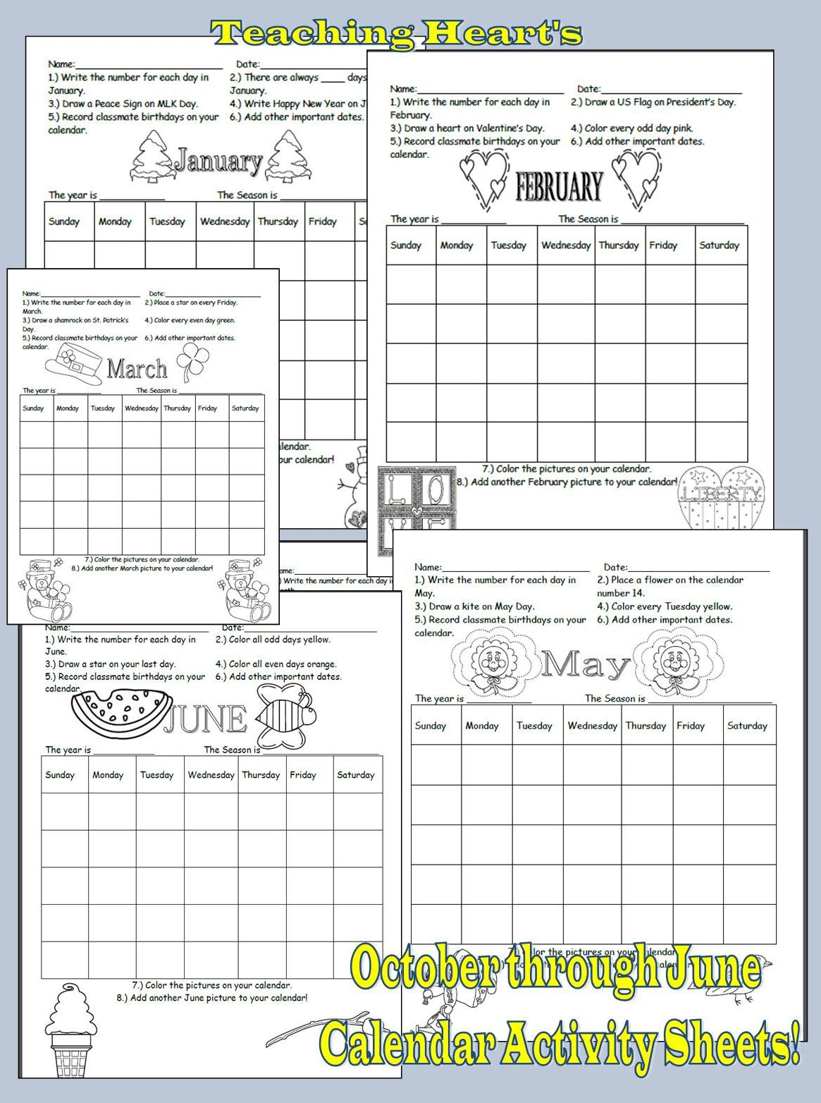Calendar Skill Activity Sheets Teaching Heart Blog