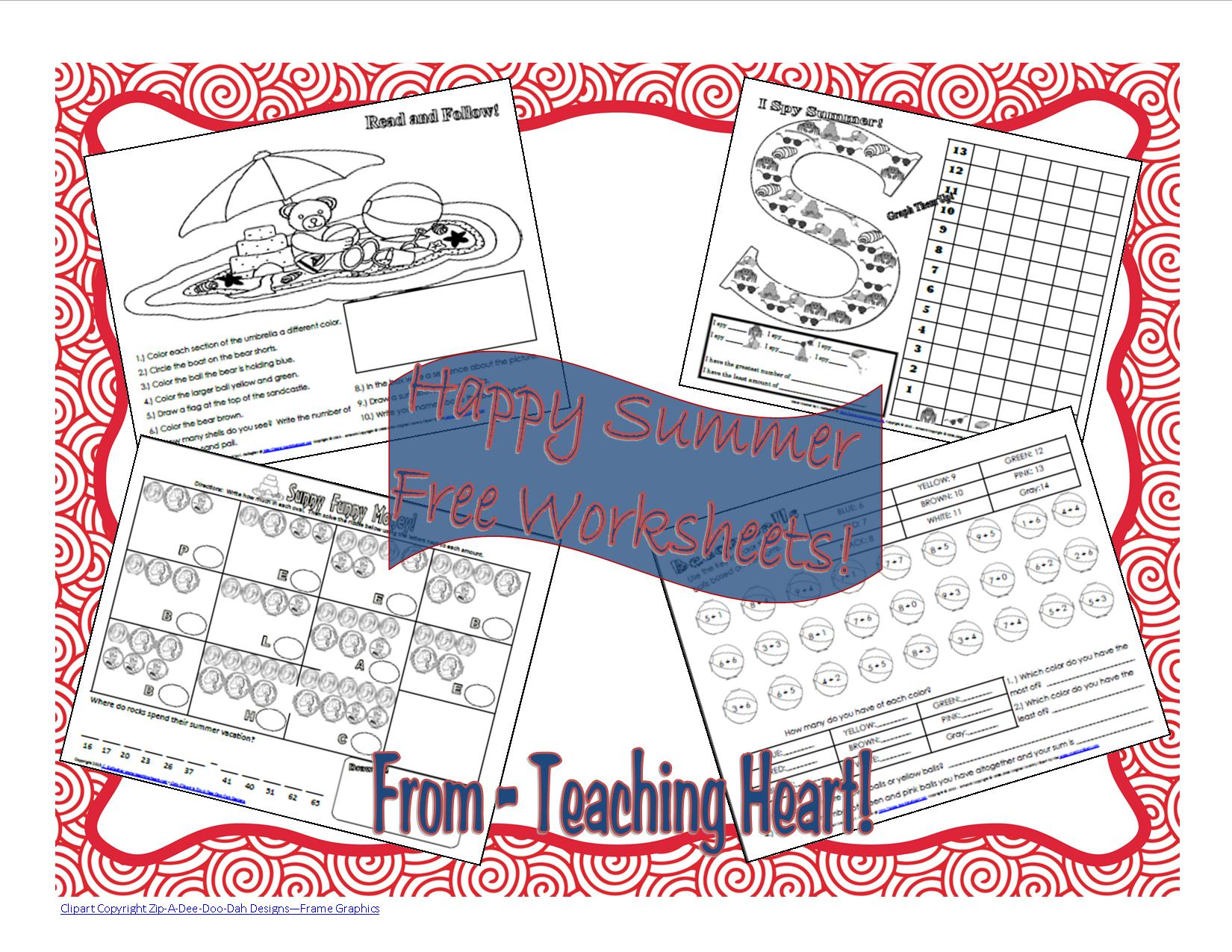 Free Summer Fun Worksheets