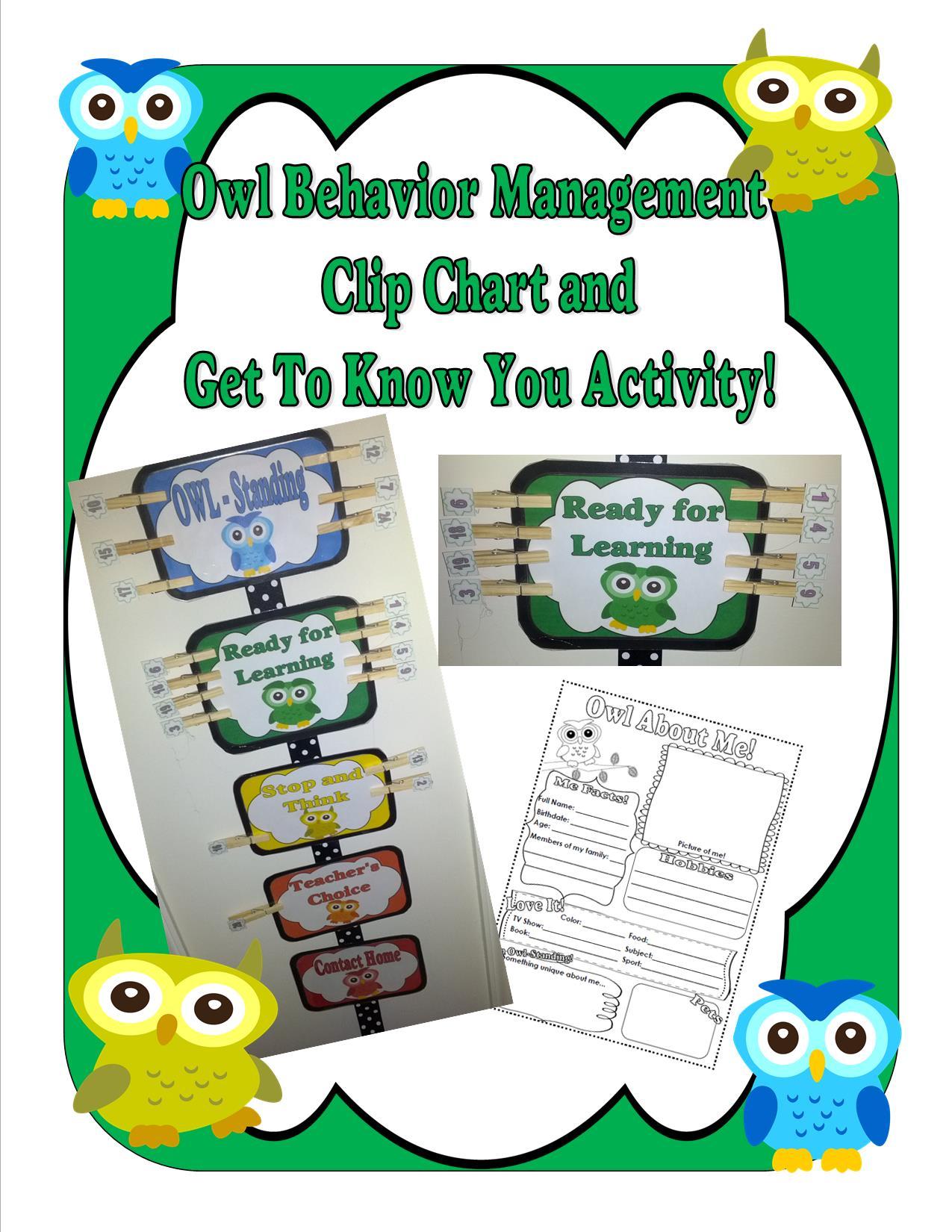 Owl Themed Behavior Management Clip Chart Teaching Heart