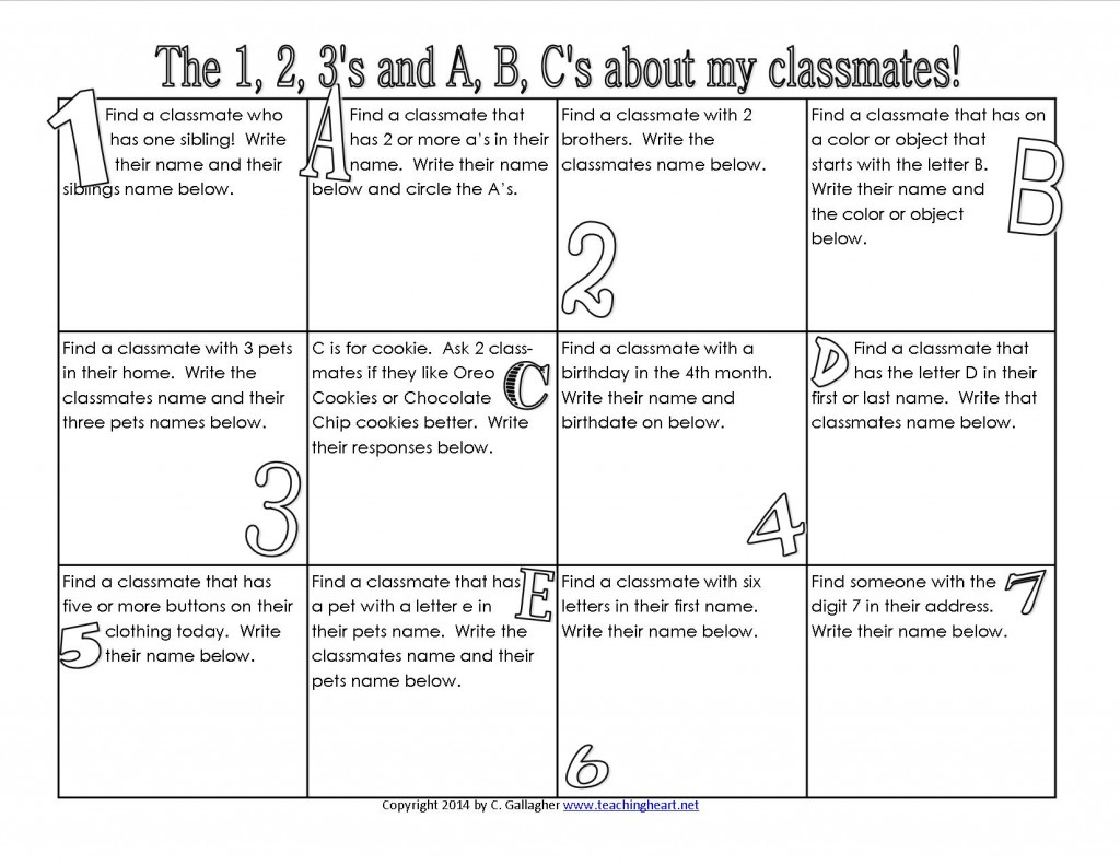 Classroom Freebies The 1 2 3 S And A B C S