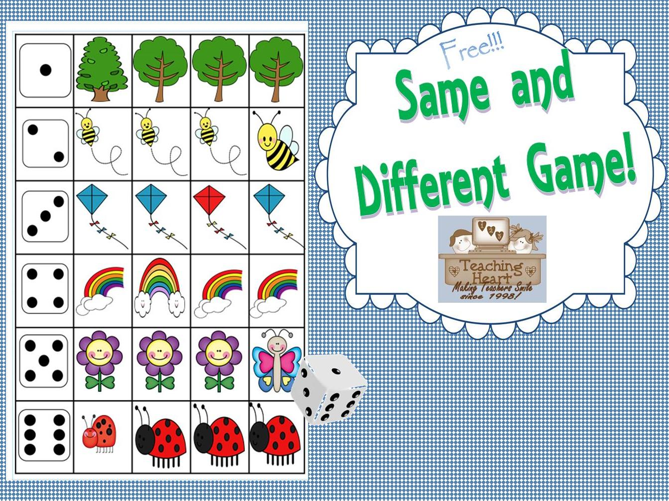 Same And Different Dice Game Free Teaching Heart Blog