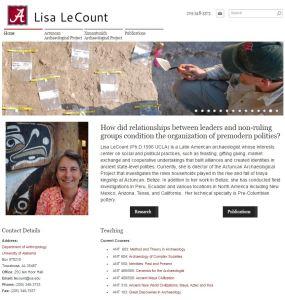 Professor Lisa LeCount's website features photos of excavation sites