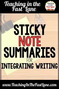 Are you looking for more ways to integrate writing into your content areas? Look no further than sticky note summaries! This strategy allows students to narrow down their summaries from a lot to a concise and precise summary.