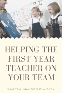 Are you wondering how to help the new teacher on your team? This blog post has tips, ideas, and advice for welcoming a first year teacher to your team including how to help them handle the stress and anxiety of their first year in the classroom.