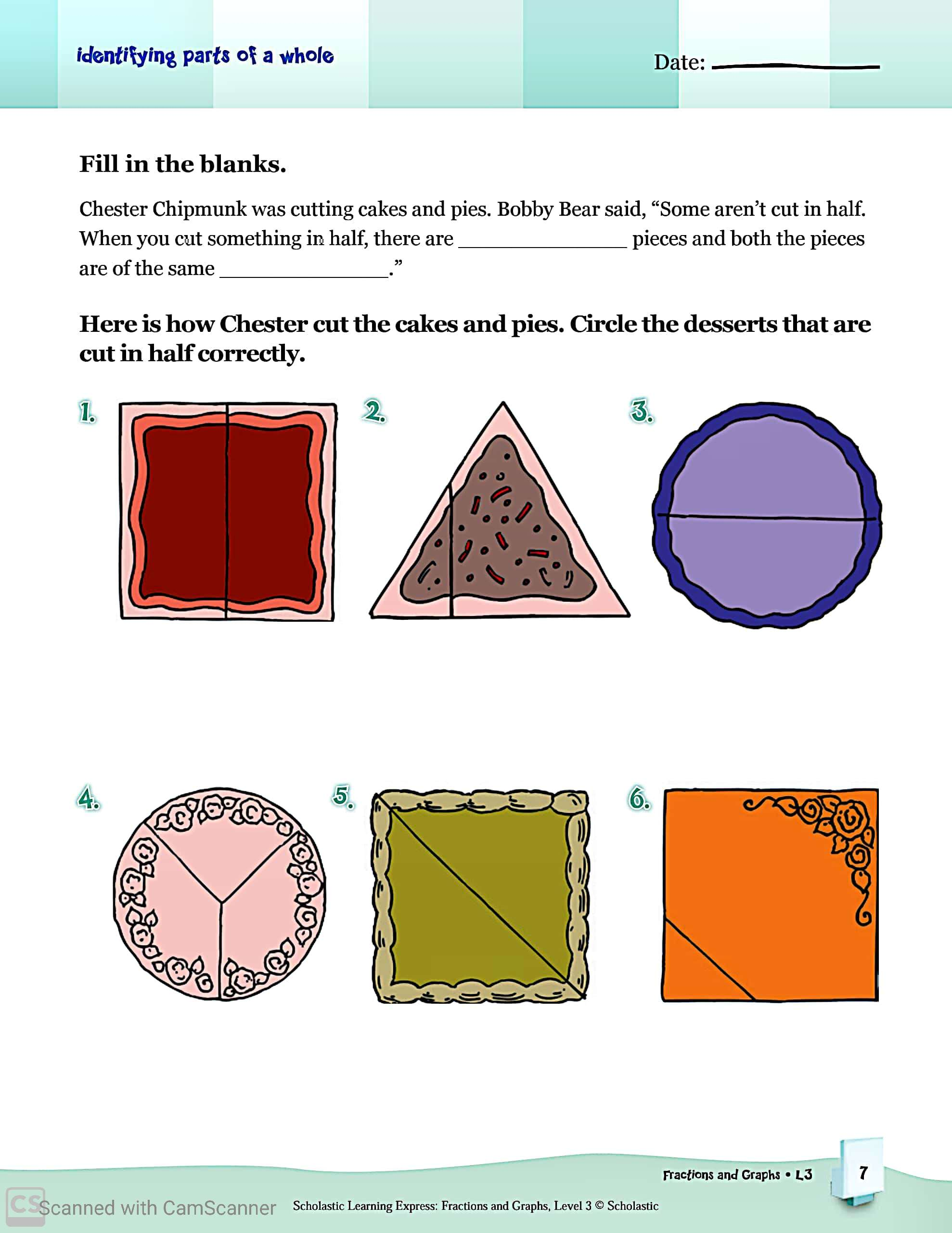Fractions And Graphs Maths Worksheets With Answers For