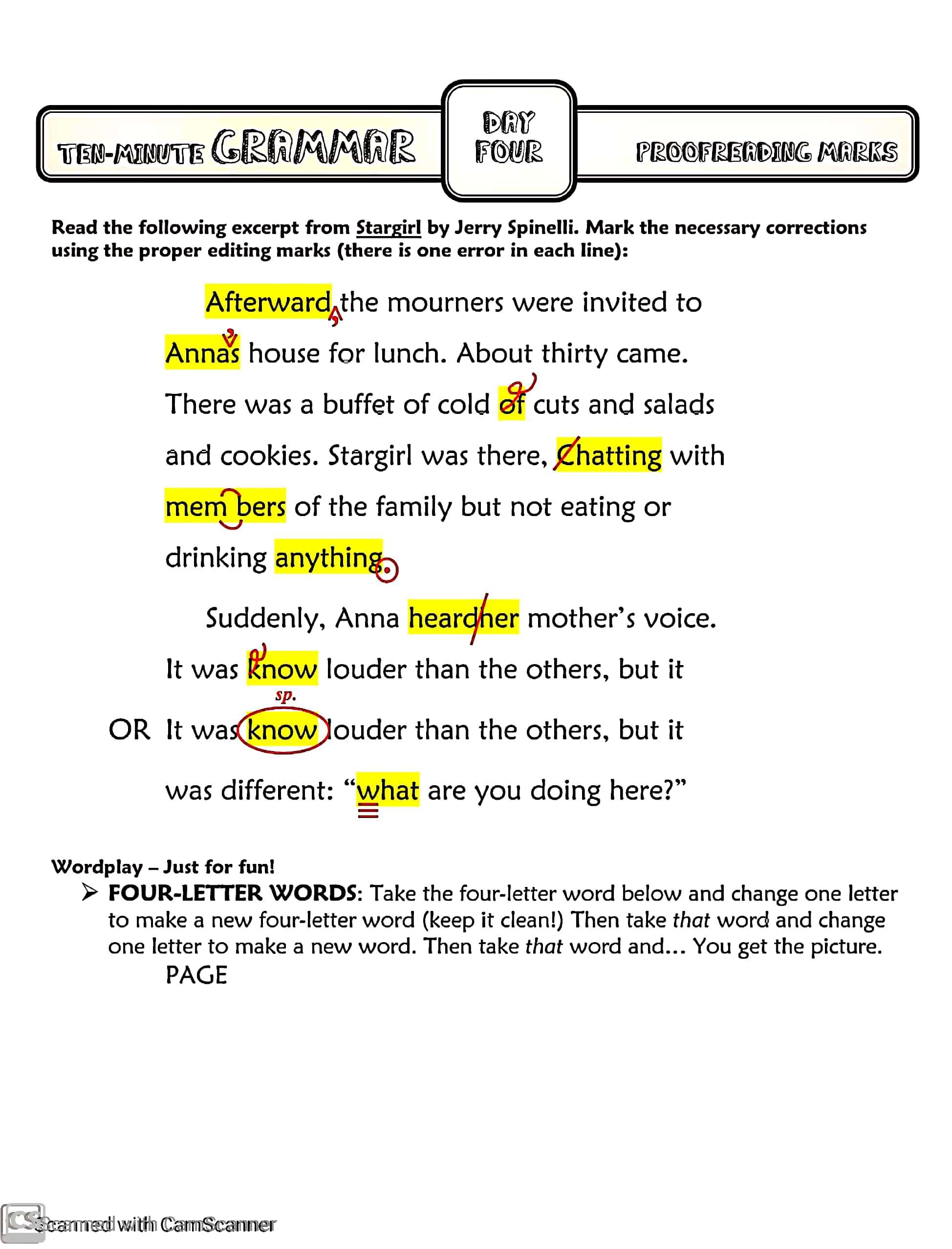 Proofreading Marks Amp Teacher S Guide With Answers For