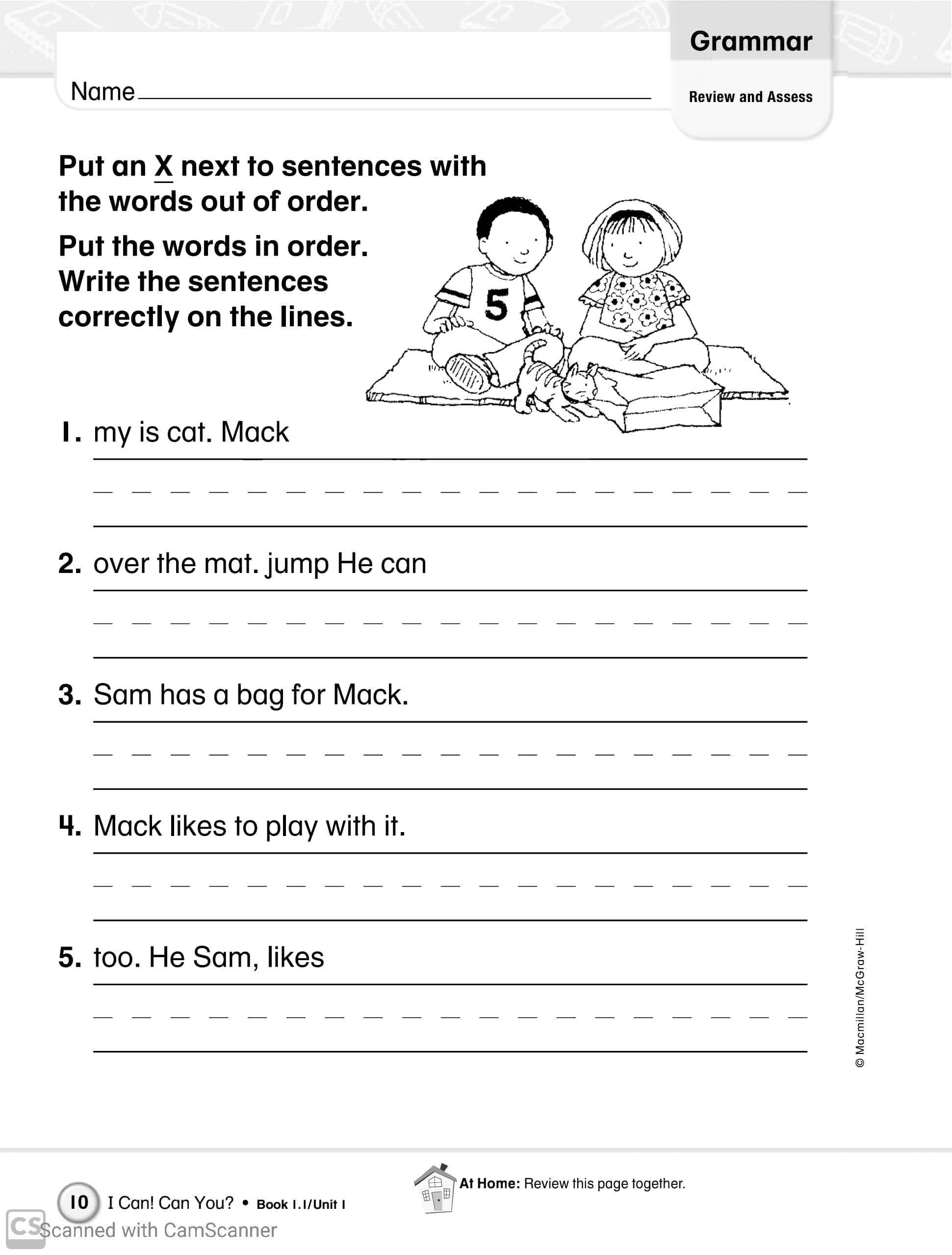 Grammar Practice Worksheets For Grade 1 Teaching Kids To