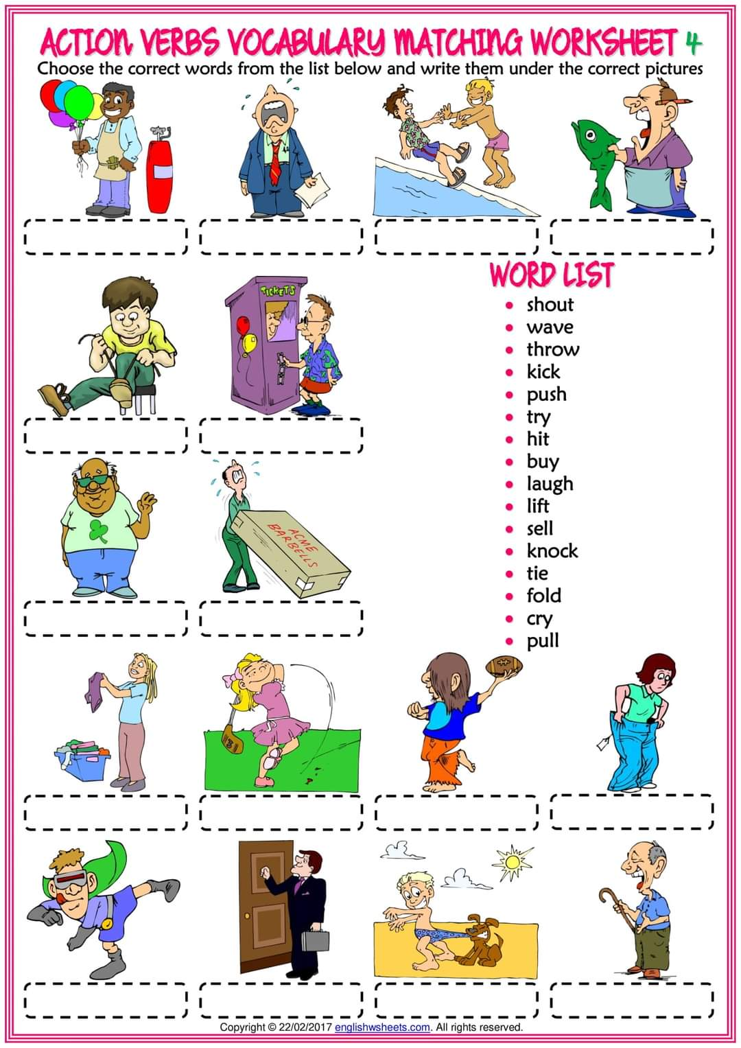 Action Verbs Vocabulary Worksheets Teaching Kids To