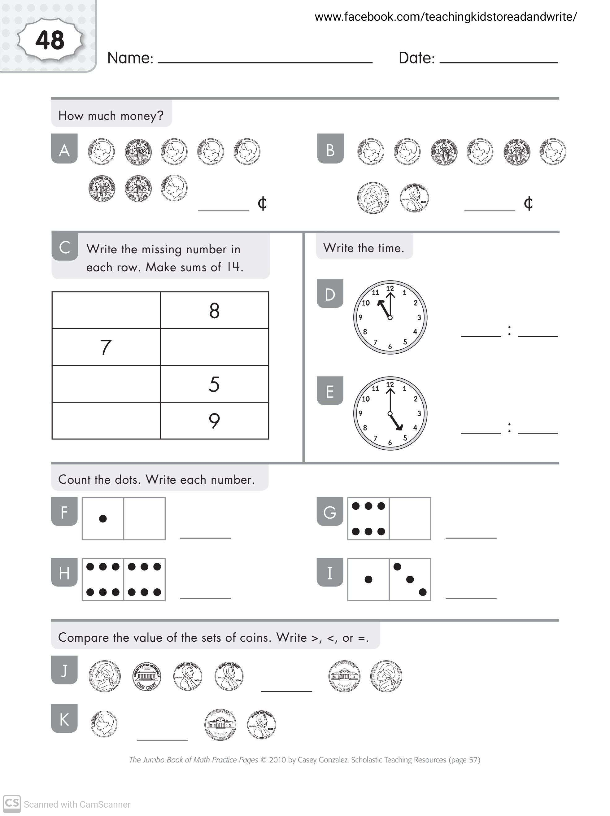 Maths Worksheets For Grade 1 Part 2 Teaching Kids To