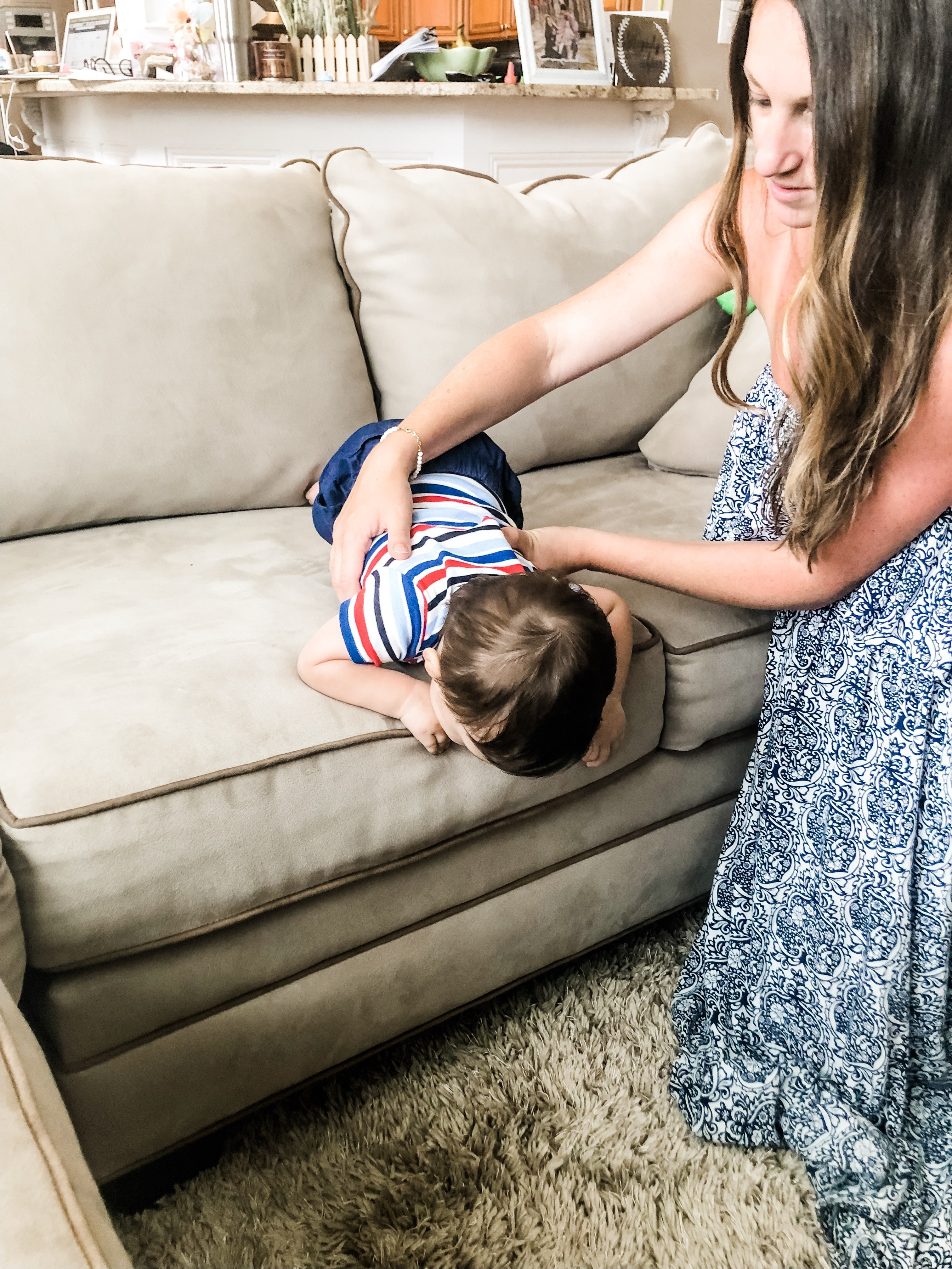 Teach your infant safety skills early like getting off a couch, bed, or any high surface safely. Practice this many times and your baby will learn quickly.