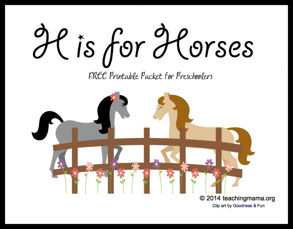 H Is For Horses Letter H Printables
