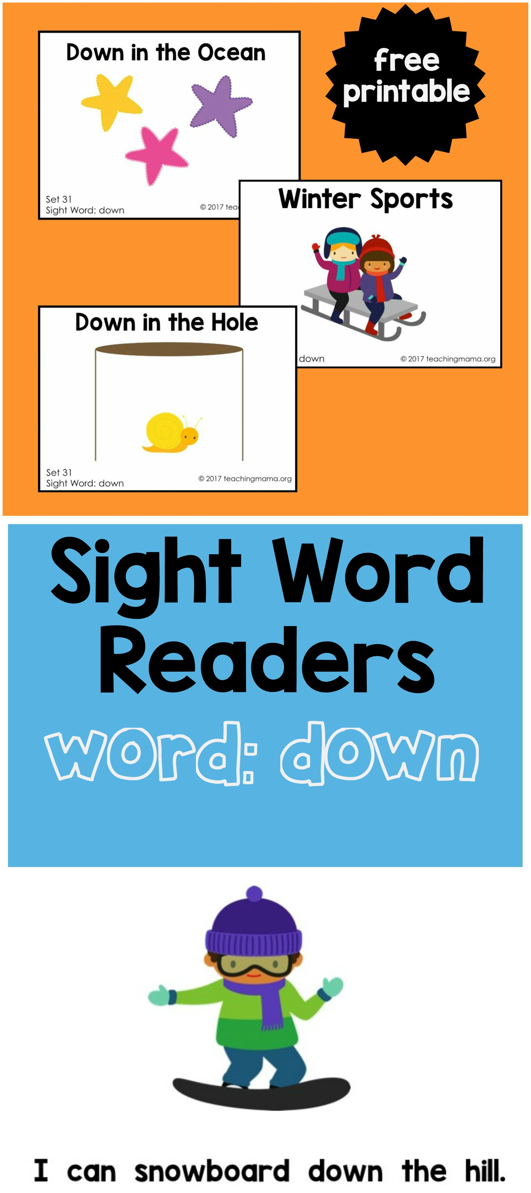 Sight Word Reader For The Word Down