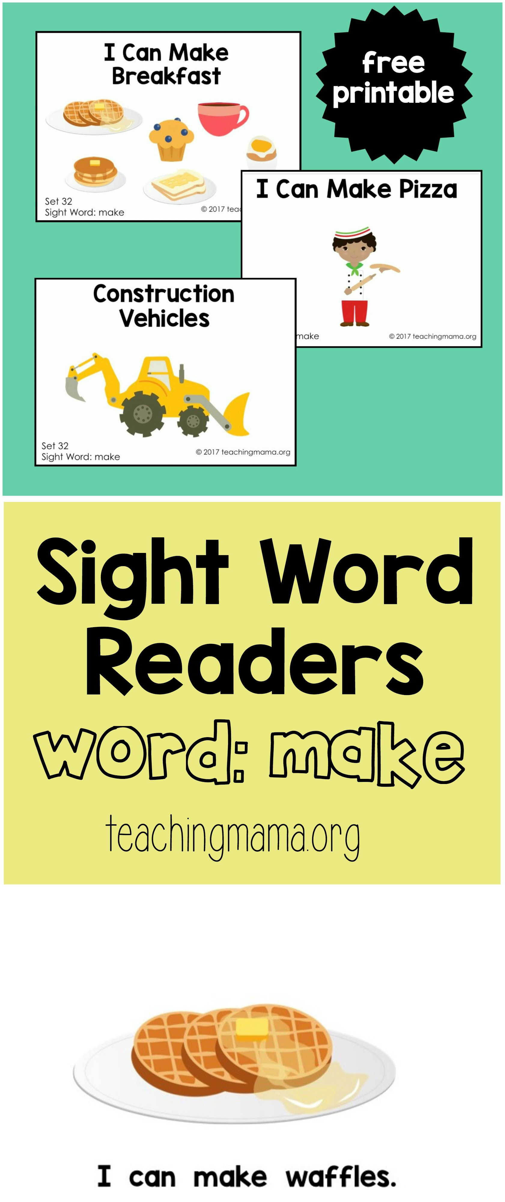 Sight Word Readers For The Word Make