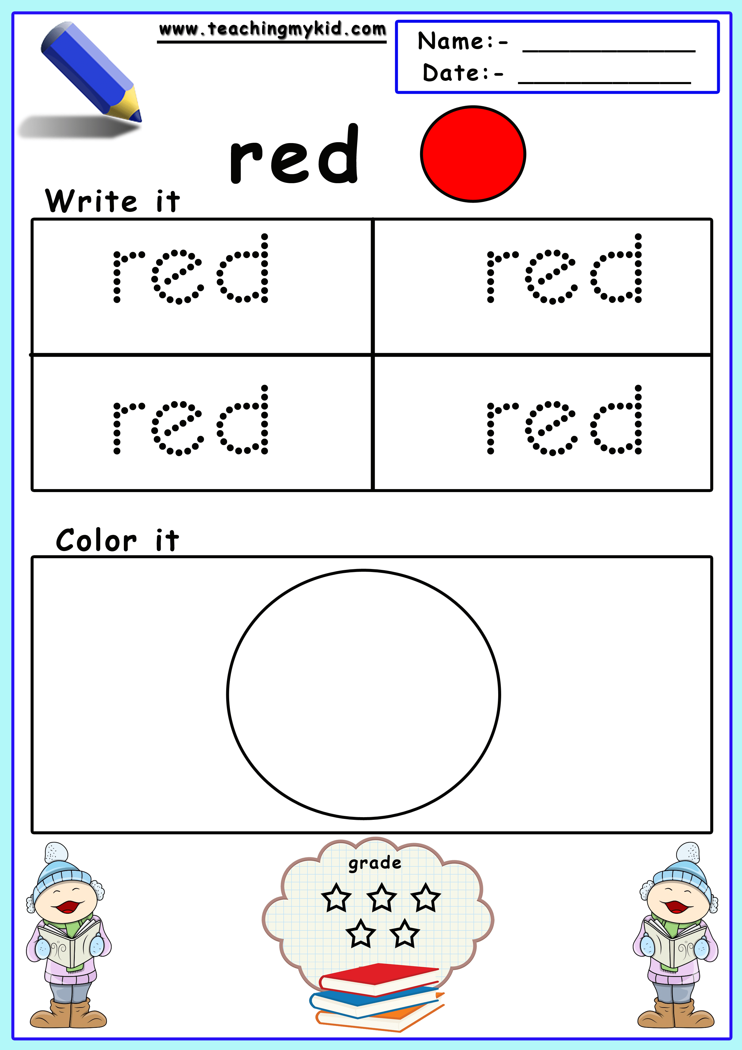 Color Identification Color Worksheets For Preschool