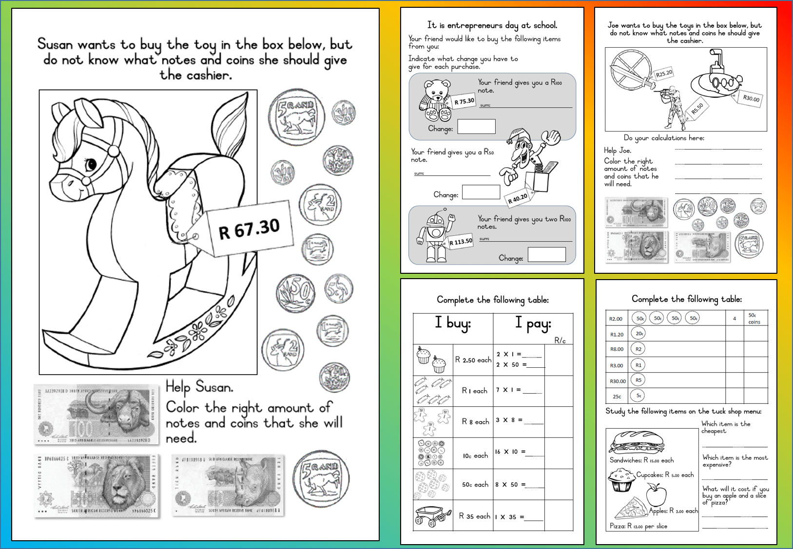 Mathematics Grade 3 Money Worksheet Teacha