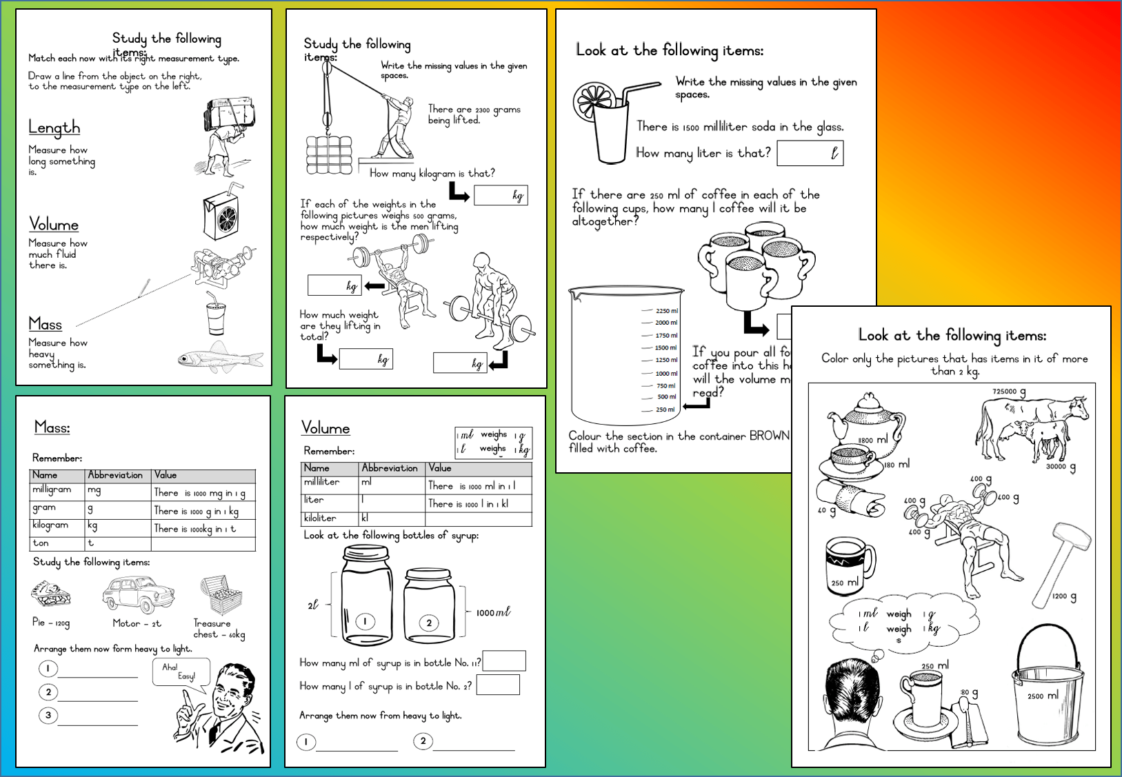 Mathematics Grade 3 Volume Mass Worksheet Teacha