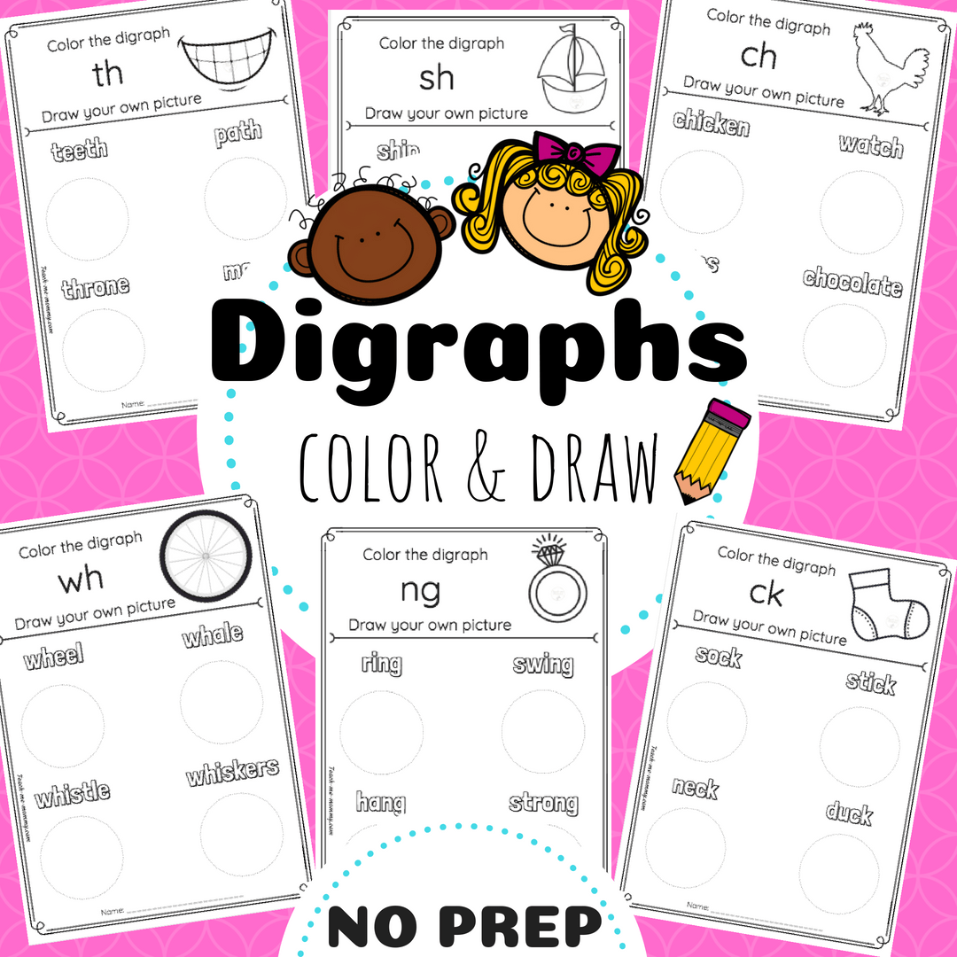 Digraphs Color Amp Draw Worksheets Teacha