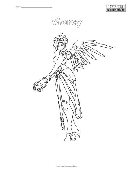 Overwatch Mercy Coloring Page Teaching Squared
