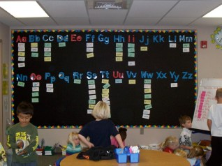 Word Wall using a felt backdrop; perfect for teachers who track in & out of classrooms!