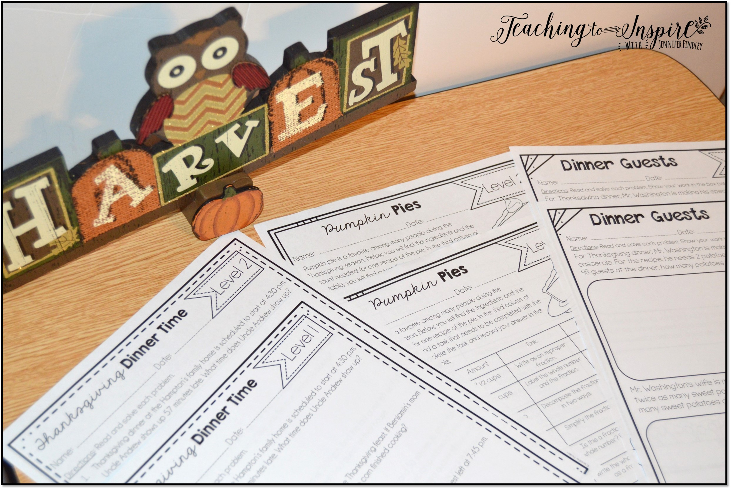 Thanksgiving Leveled Math Worksheets