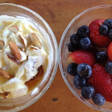 Fresh berries and greek yogurt.