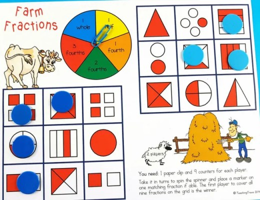 fraction games for first and second grade