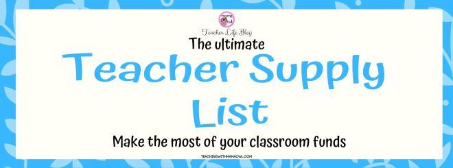 Teacher Supply List Banner