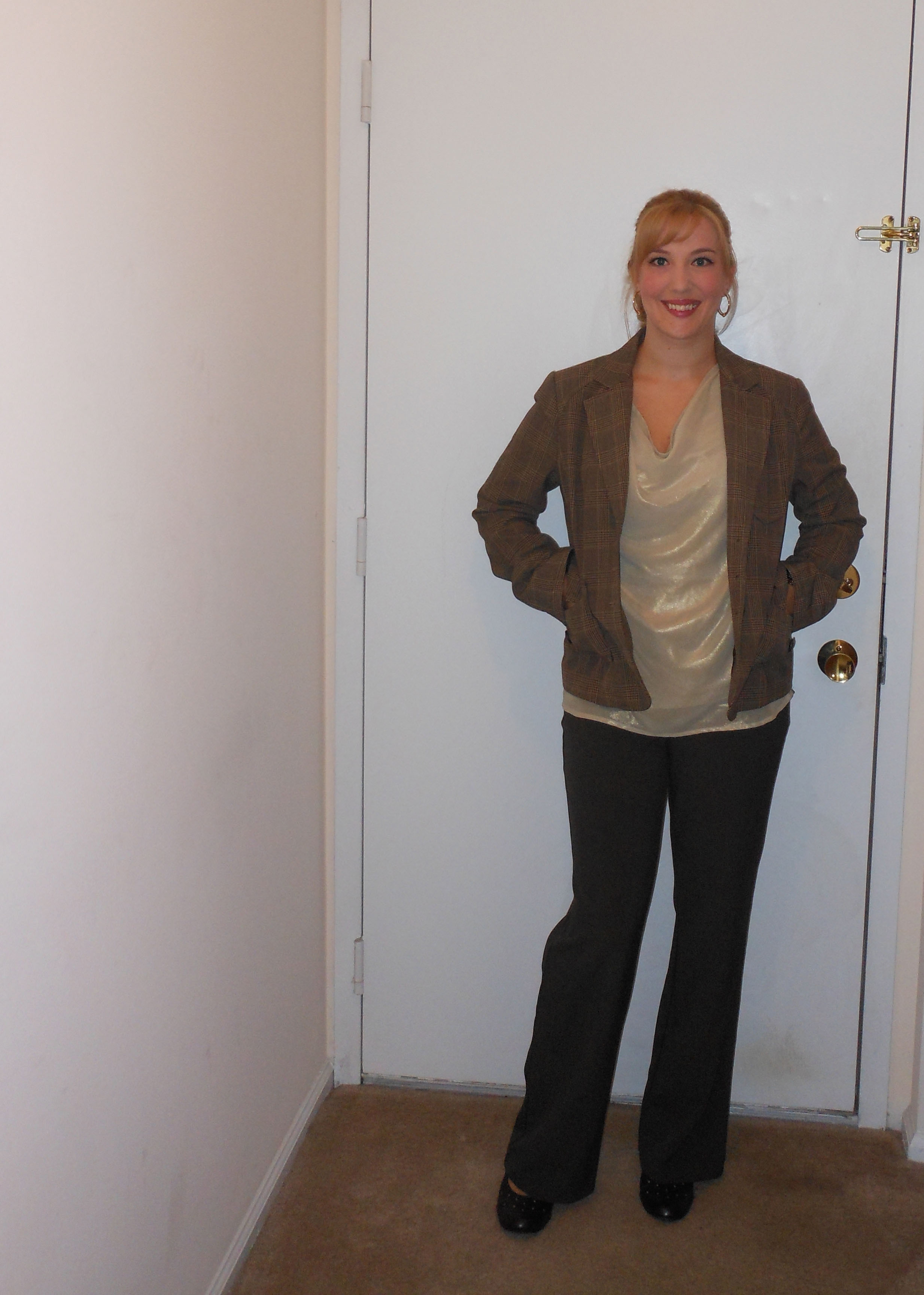 8e816dbd1330 Brown blazer  (thrifted.) Gold cowl neck blouse  JC Penney. Gold earrings  JC  Penney. Brown trousers  NY Co. Brown pumps  (thrifted.) Gold watch  Target.