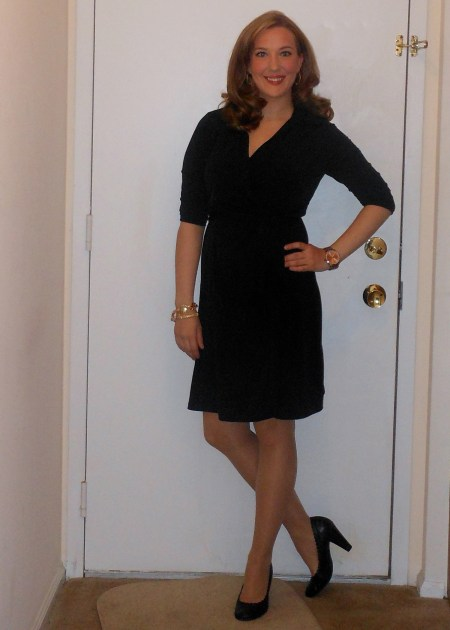 Black wrap dress: Wal-Mart. Black pumps: Payless.