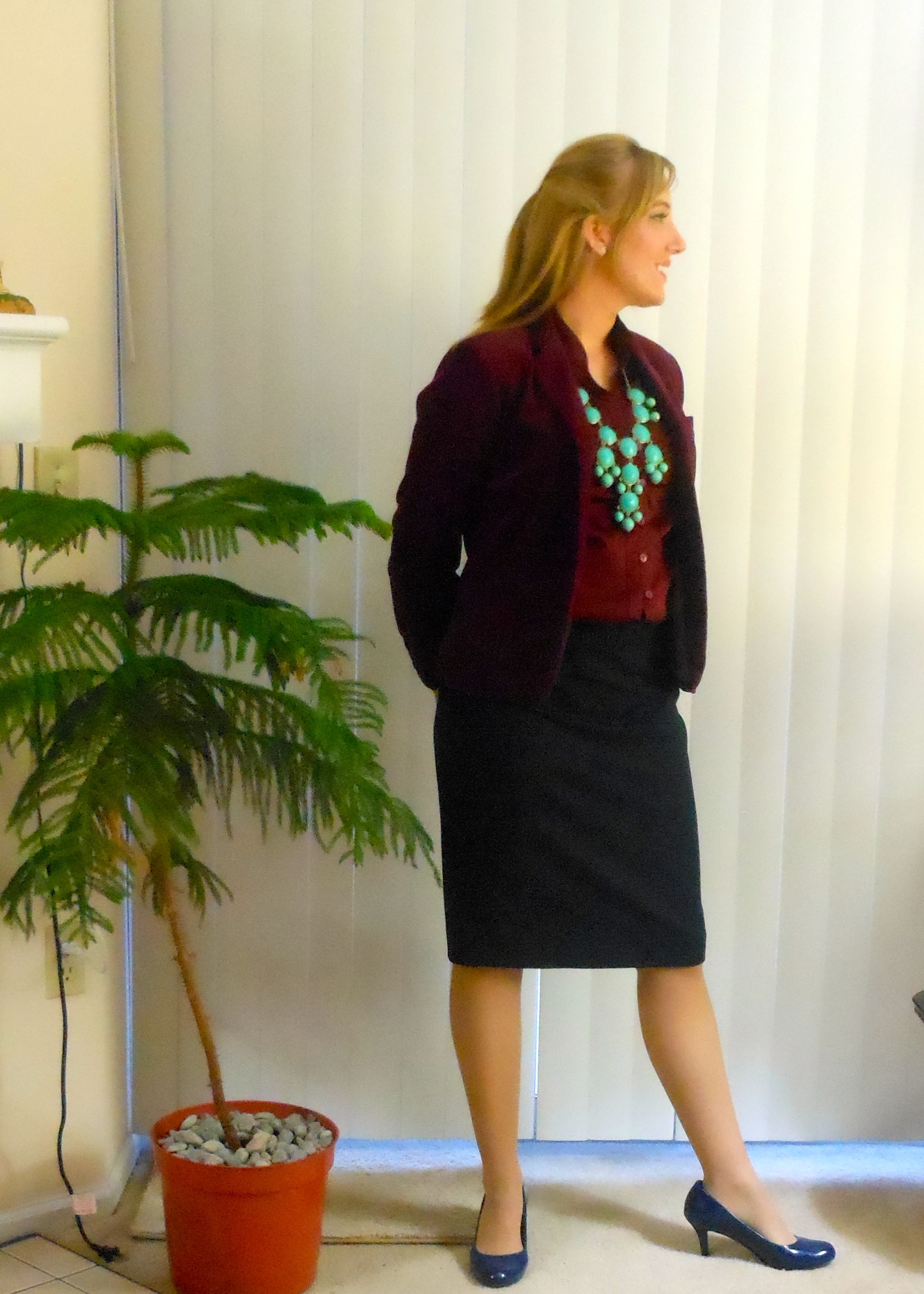 4853310a04cf Burgundy velvet blazer  (thrifted.) Turquoise bubble necklace  Ebay.  Burgundy tie-neck button-up  JCP. Navy skirt  Target. Navy pumps  Payless.