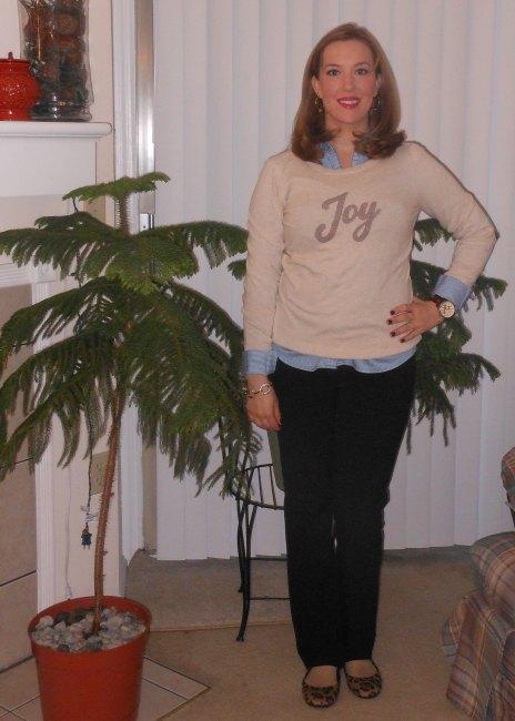 Joy sweater: Old Navy. Blue button-up: NY&Co. Watch: Festival Flea Market. Black pants: NY&Co. Leopard print flats: Gift (Payless)