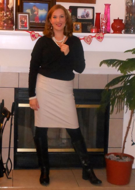 Black v-neck sweater: JCP. Black scoop neck t-shirt: Old Navy. Pearl necklace: ? Pearl earrings:? Light khaki skirt: (thrifted.) Pearl bracelet: Elder Beerman. Black fleece leggings: Walgreens. Fitbit: gift. Daisy ring: gift. Black flat riding boots: Target.