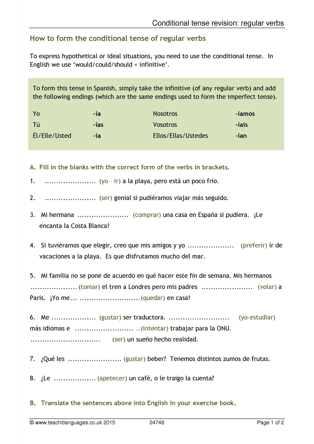 Conditional Tense Revision Regular Verbs