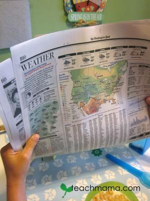newspaper weather math