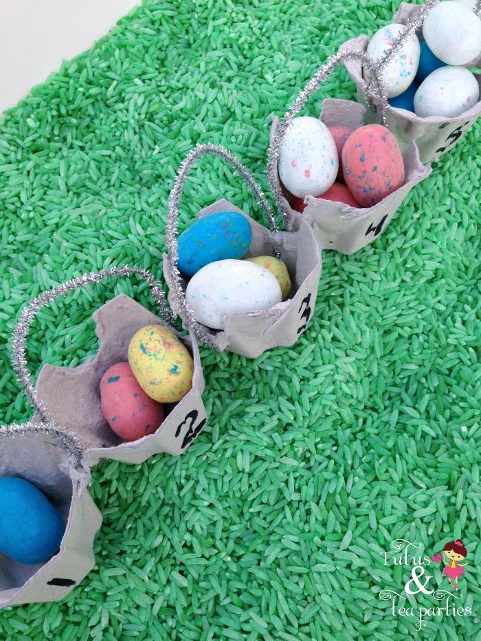 springtime easter sensory bin: egg hunt and count