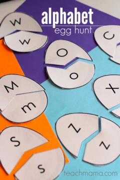 alphabet egg hunt: uppercase and lowercase letter match