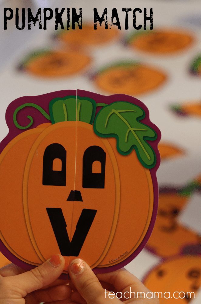 pumpkin match game   teachmama.com   easy halloween class party fun gets kids thinking and moving