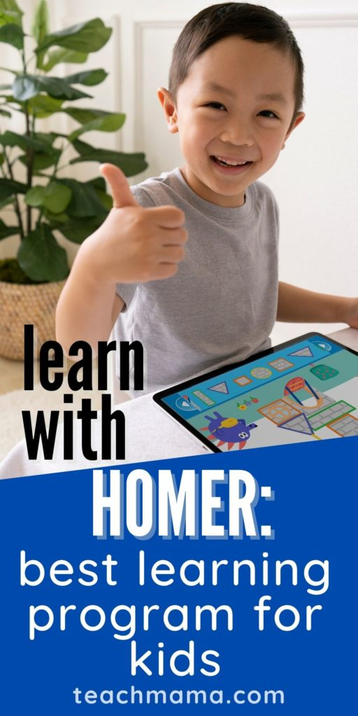 Little boy using Learn with HOMER on the ipad