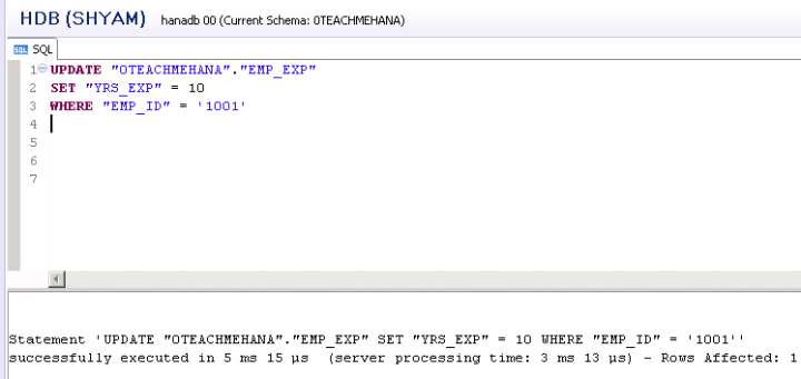 SAP HANA SQL SCRIPT UPDATE DELETE DROP COUNT