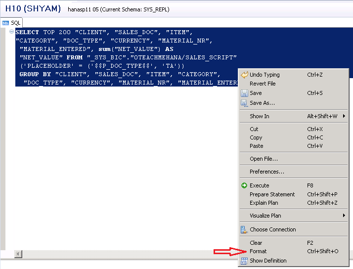 sap hana scripted calculation view execution