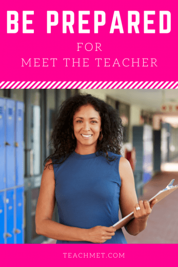 African American Teacher holding a clipboard. Getting ready for Meet the Teacher or Open House