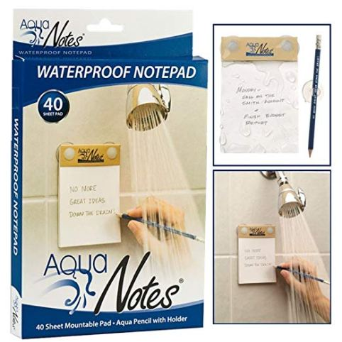 a waterproof note pad that can be used in the shower to capture your ideas