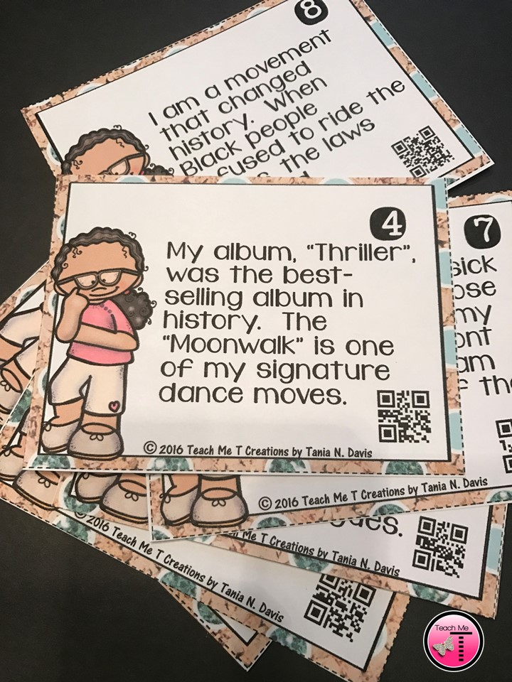 photograph of a set of task cards (learning cards) displayed on a table, showing a graphic of a girl thinking and a clue about famous African Americans in history.