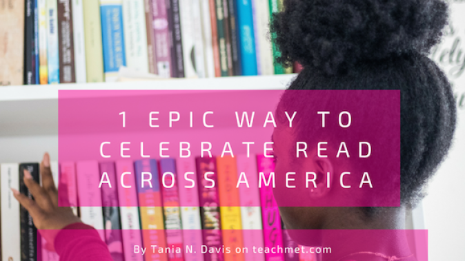 blog post graphic of an African American girl looking at books on a shelf.